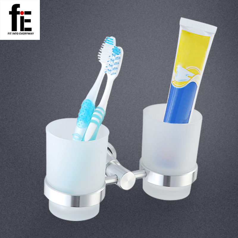 fiE Double Tumbler Holder Toothbrush Cup Holder Base with Glass Cup Bathroom Accessories silver polish cup holder modern double tumbler holder flower design cup toothbrush holder bathroom accessories