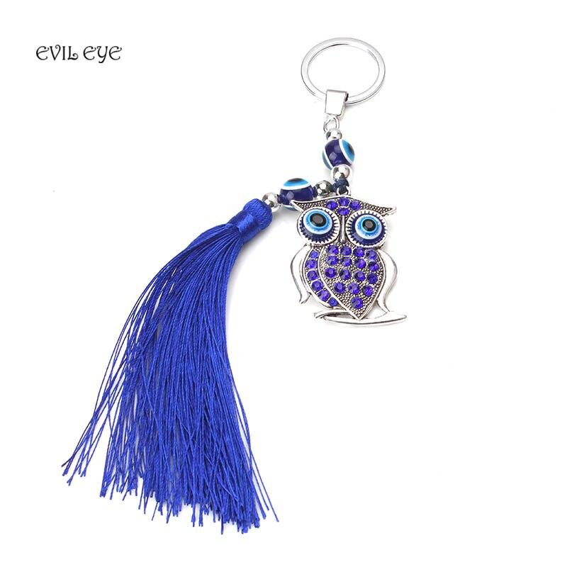 1pc Fashion Evil Eyes Owl Key Rings Tassel Key Chains Crystal Pendant key chains Lucky Gifts