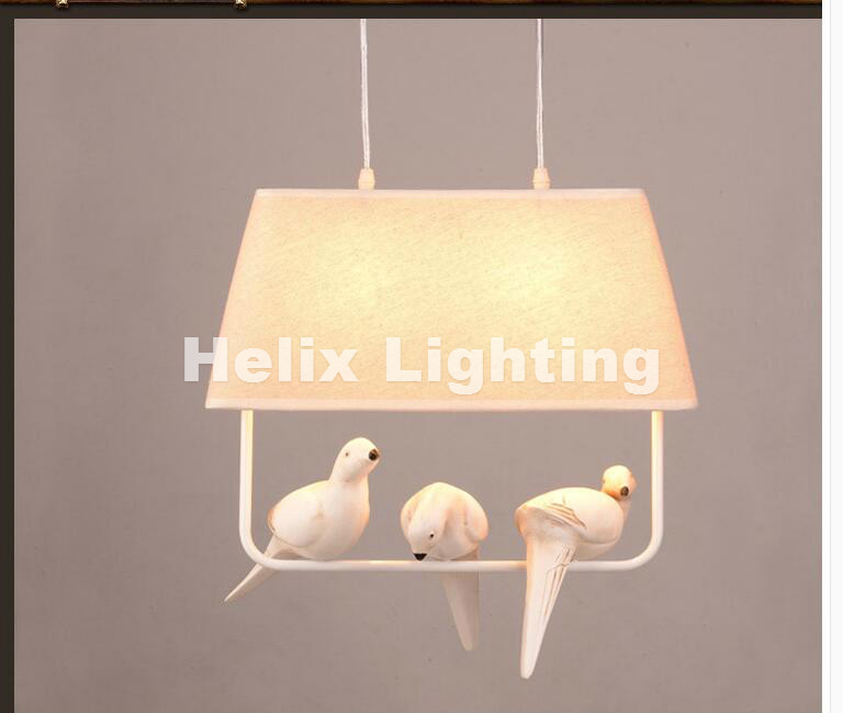 Free Shipping Newly Nordic Modern Pendant Lamp Bird Lighting Birds Pendant Vintage Lamp Resin Bird Fabric Lampshade For Bedroom