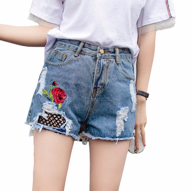 d8bbb4a7b0 Women High Waist Jean Shorts Rose Embroidery Washed Denim Short Feminino  Floral Grids Holes Ripped Frayed