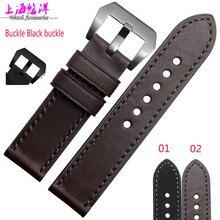 Часы аксессуары из натуральной кожи браслет часы с черным 22 | 24 мм для мужчин