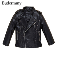 Jackets For Girls And Boys Solid Black Pink Red PU Leather Jackets Autumn Girls Coats For