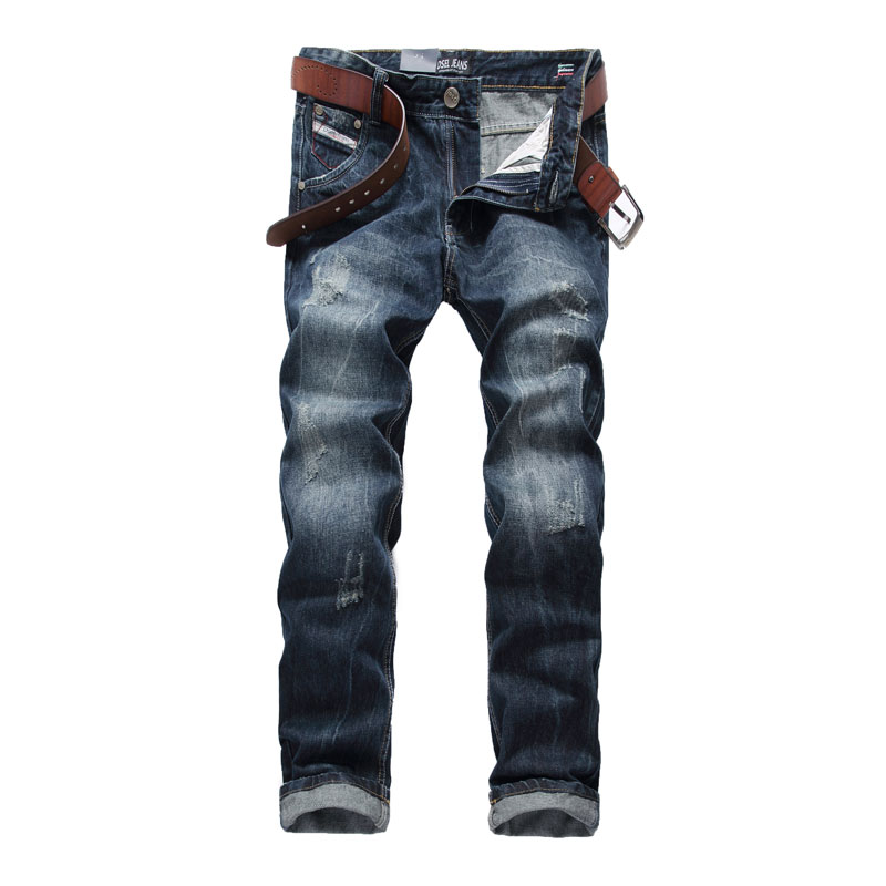 Dark Color Italian Designer Men Jeans Dsel Brand Ripped Jeans For Men Washed Distressed Straight Fit Jeans Home,Size 29-40 988-1 2017 new original high quality dsel brand men jeans straight fit distressed ripped jeans for men dsel brand jeans home 604 a
