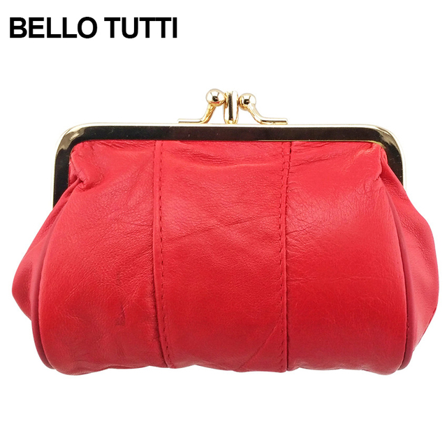 BELLO TUTTI Women's Mini Wallet Genuine Leather Female Coin Purse Sheepskin Change Purse Woman Metal Hasp Wallet Soild Color