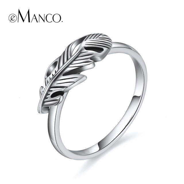 e-Manco Leaf Ring 925 Sterling Silver Wholesale Wedding&Engagement Retro Fashion Rings Best Gifts New Arrival