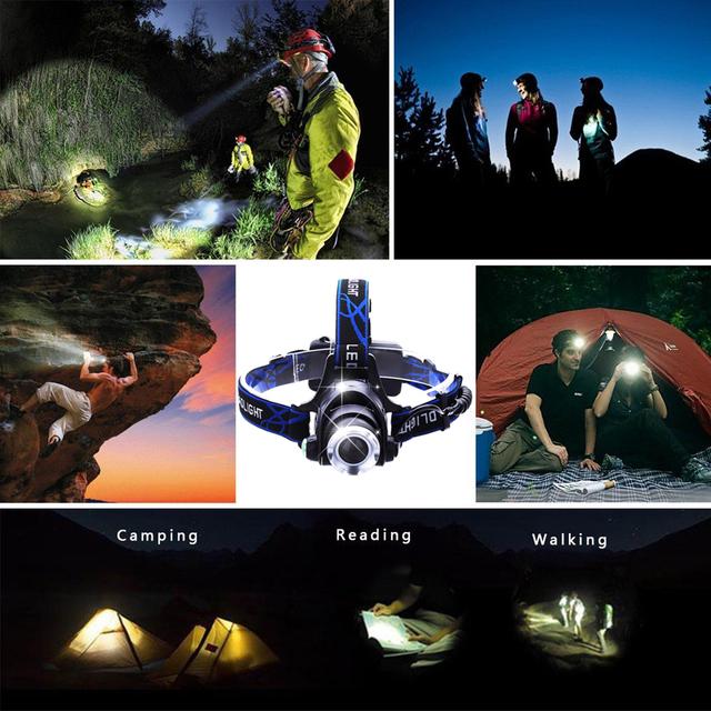 RU 8000LM XML-L2 XM-L T6 Led Headlamp Zoomable Headlight Waterproof Head Torch flashlight Head lamp Fishing Hunting Light