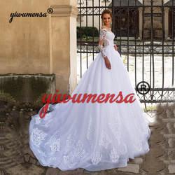 Vestidos De Novia 2019 кружевное ТРАПЕЦИЕВИДНОЕ свадебное платье с аппликацией Свадебные платья на заказ свадебное платье с длинными рукавами Robe De