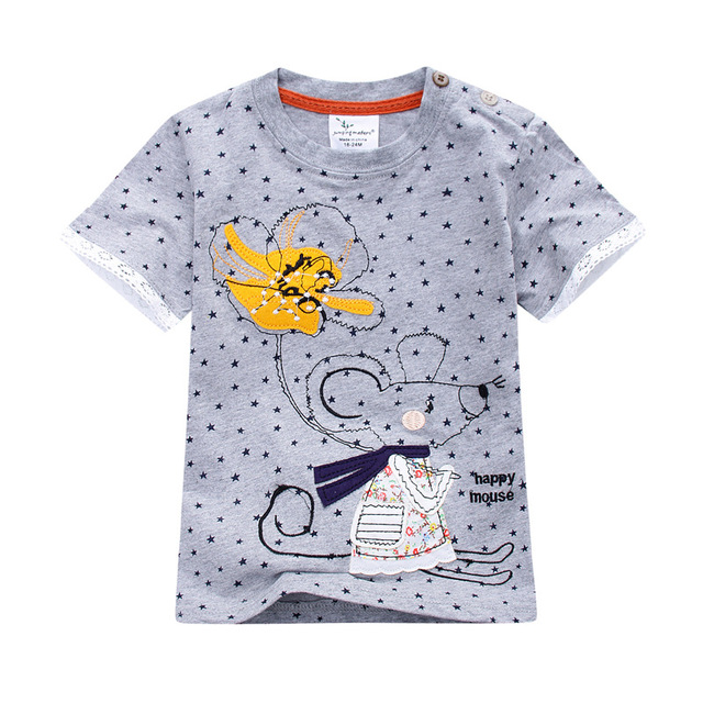 Retail Brand 2018 New babyKids Girls Tshirt Child Clothing Childrens Tops Summer Clothes Short Sleeve Tee blouse shirts Cartoon