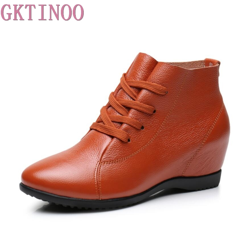 GKTINOO Plus Size 34 43 Women Shoes Woman Genuine Leather Wedges Ankle Boots Casual Height Increasing