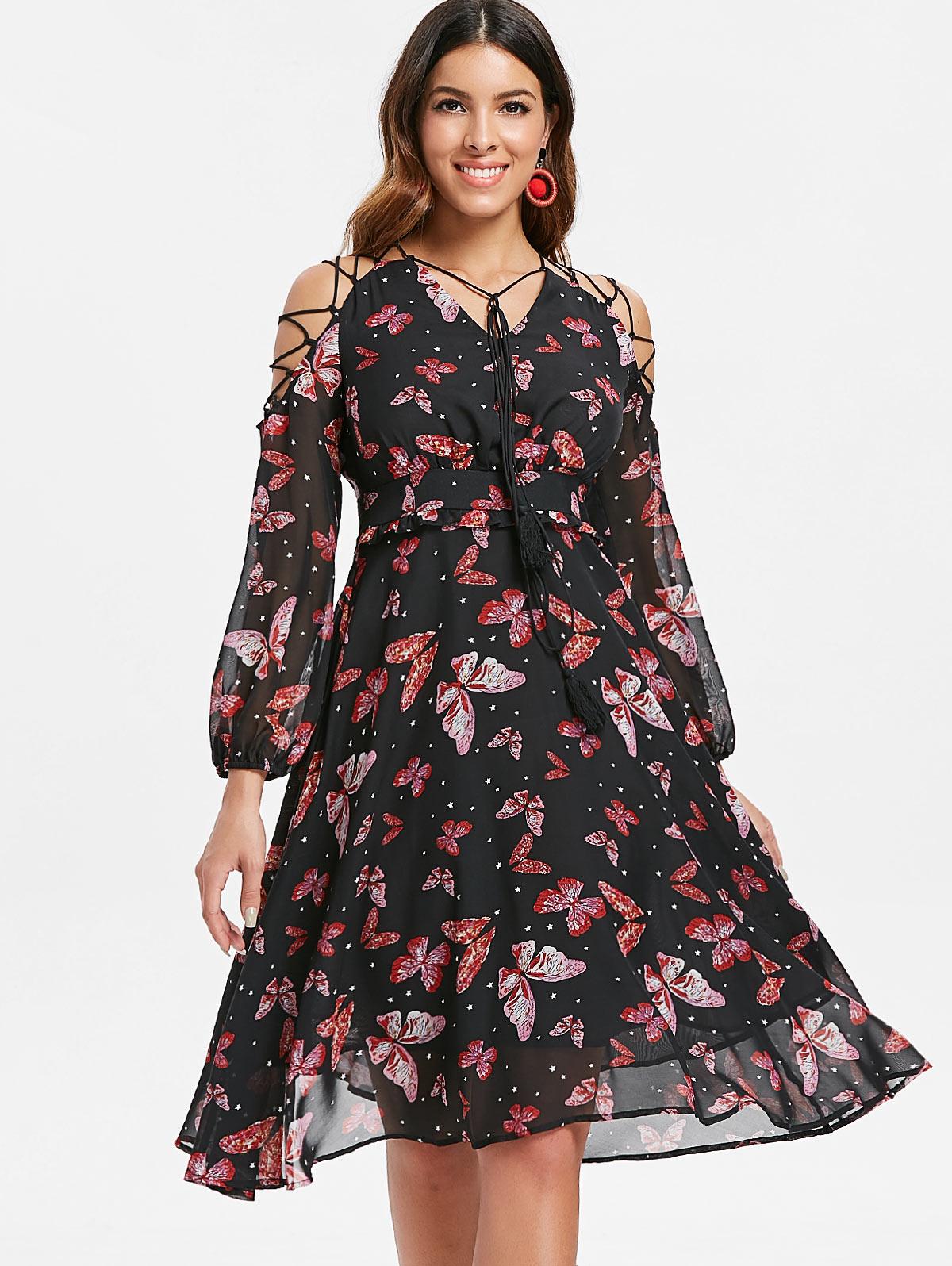 Joineles Lace Up Women Dress Butterfly Print Tie Sleeve