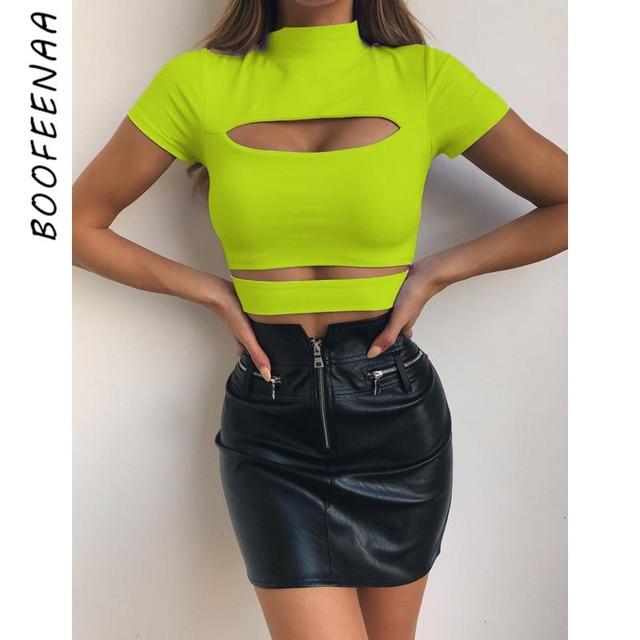 9b2b7258e73 BOOFEENAA verano 2019 mujer camiseta neón amarillo negro ahueca hacia fuera de  cuello alto manga corta