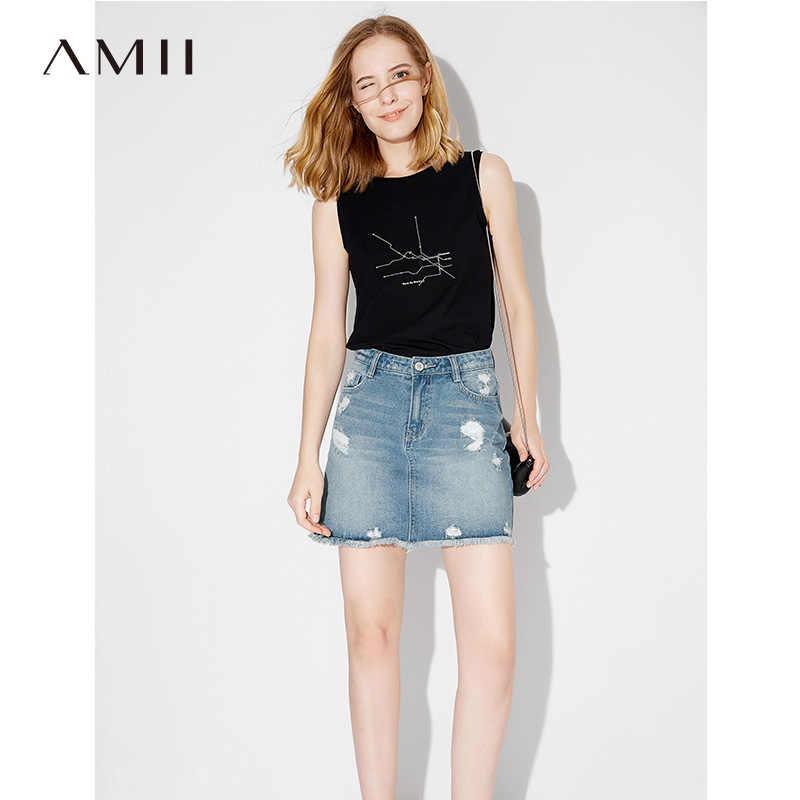 Amii Mulheres Impressão Geométrica Minimalista Verão Regatas 2019 Sólida O Pescoço Feminino Camis Tops