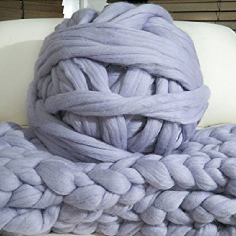 500g DIY <font><b>Hand</b></font> Stricken Häkeln Hut Schal Stricken Chunky Wolle Roving Garn Super Soft Big Merino Wolle Garn Arm stricken Decke image