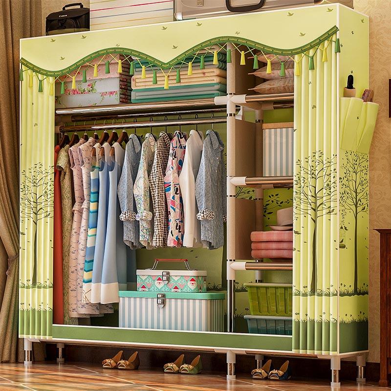 цена на Simple wardrobe 25MM steel pipe combination Peach Skin Velvet wardrobe Bedroom Multifunctional Storage Cabinet Home Furniture