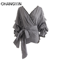 CHANGYIN 2018 Spring Pearl Plaid Women S Shirt V Neck Lace Up Blouse Puff SLeeve Casual