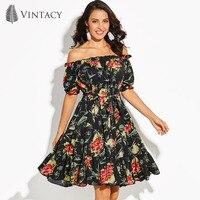 Vintacy Black Floral Dress Women Slash Neck Off Shoulder Backless Dresses Print Belt High Waist Plus