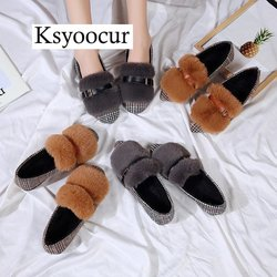 Brand Ksyoocur 2018 Winter New Ladies Flat Shoes Casual Women Shoes Comfortable Pointed Toe Flat Shoes J008