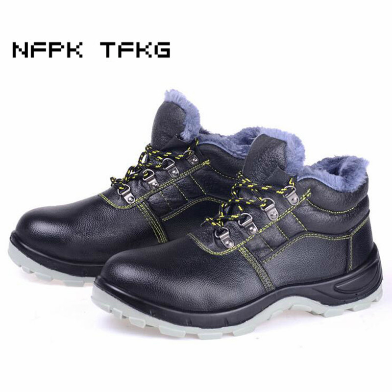 mens casual plus size steel toe caps work safety warm plush cotton shoes genuine leather winter snow ankle boots anti-puncture цены онлайн