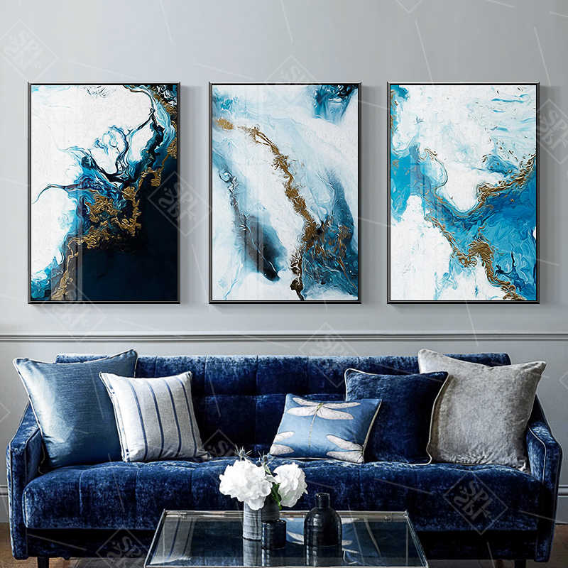 Watercolor Splash Blue Gold Canvas Painting Abstract Posters And Prints Home Decoration Wall Art Picture For Nursery Baby Room