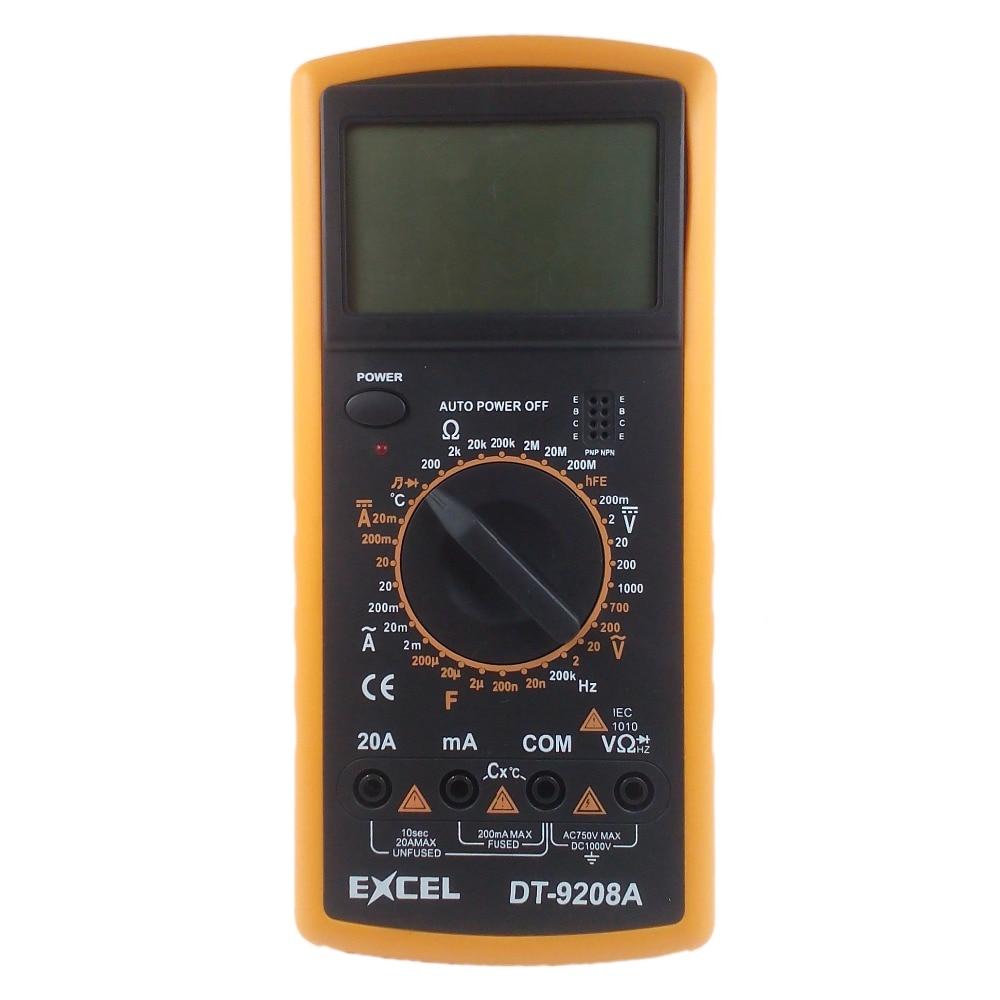 EXCEL DT9208A Digital Multimeter DC AC Spannung Strom Widerstand Kapazität Temperatur Frequenz Meter Tester Voltmeter LCD