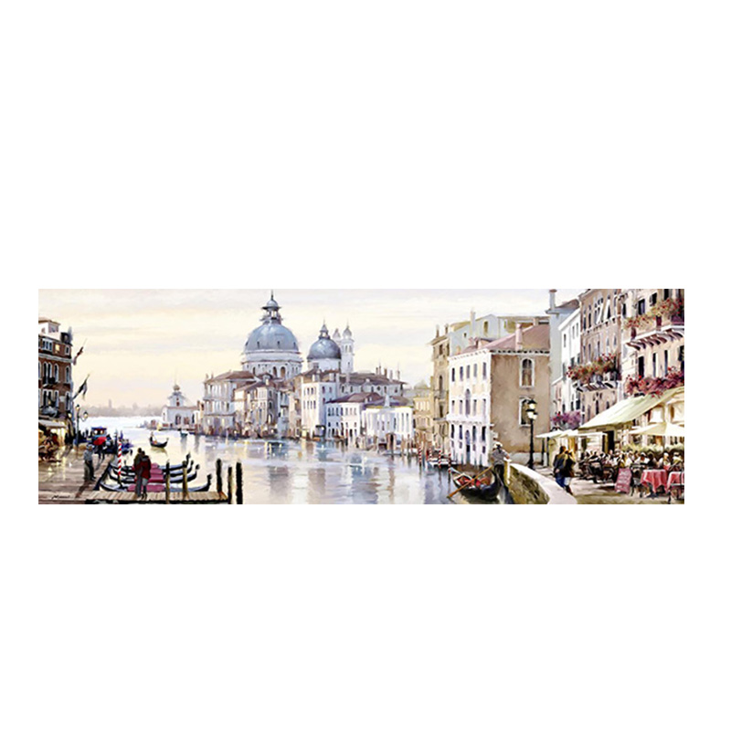 Abstract Venice City of Water Oil Painting on Canvas Boats Buildings Cuadros Poster and Print Wall Art for Living Room