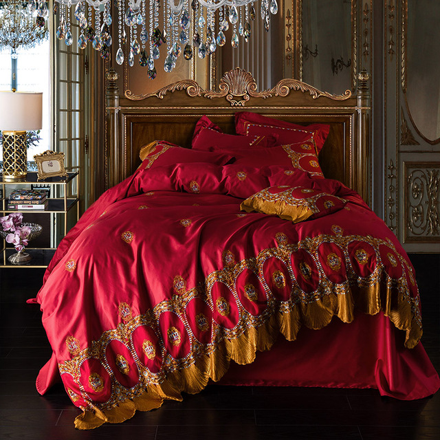 Soft Egyptian Cotton Red Bed Sheet Set Queen King Size Embroidery Duvet  Cover Pillowcases Golden Lace