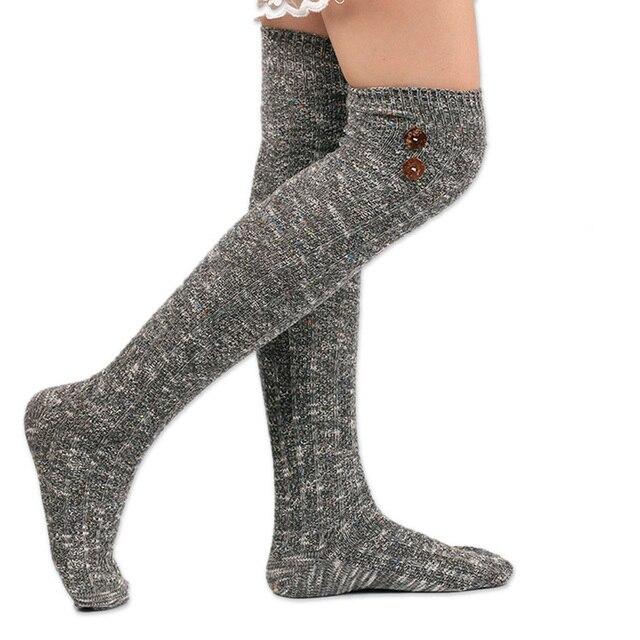 4e949127f Hot 6 Colors Winter Socks Women High Quality Knitted Stockings Knee Socks  Thick Warm Socks Leg