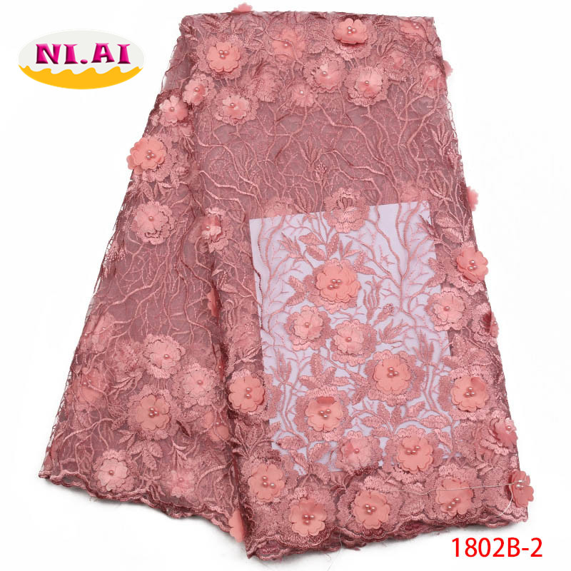 2018 Net Lace For African With Beads Burgundy Lace Fabrics With Free Shipping 3D Applique Tulle