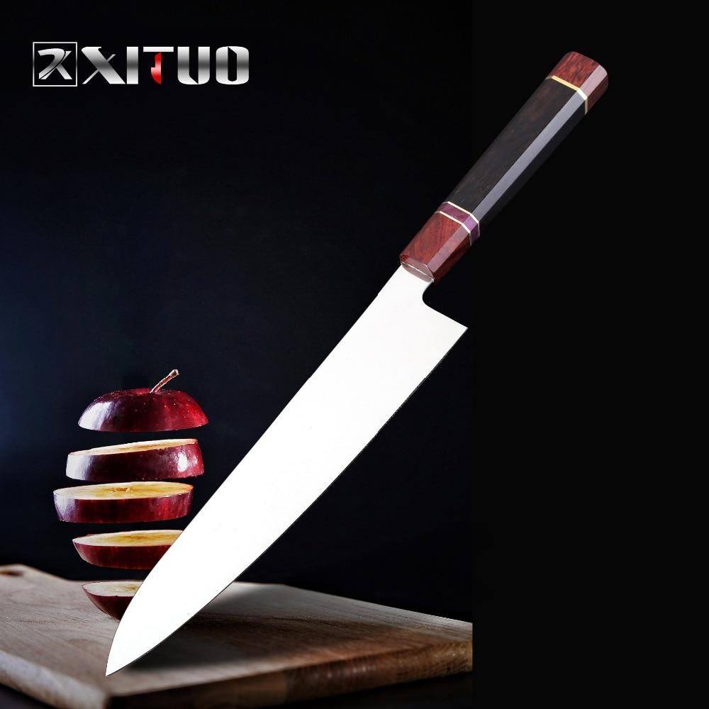 XITUO 9 بوصة اليابانية المطبخ سكين vg10 عالية الكربون الفولاذ المقاوم للصدأ الشيف سكين التقطيع الأسماك الخبز التعصيب التقشير السلمون سانتو-في سكاكين مطبخ من المنزل والحديقة على  مجموعة 1