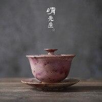 Jingdezhen spot Kiln changing Glaze coarse Pottery cover Bowl Sancai bowl Gongfu Tea set Tea Cup coarse Pottery River Red Glaze Tumblers     -