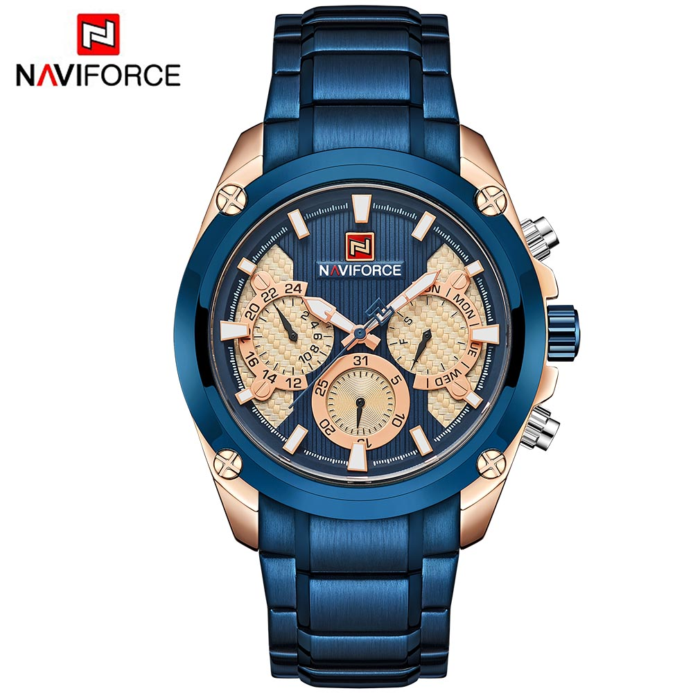 цены на NAVIFORCE Relogio Masculino Blue Mens Watches Top Brand Luxury Quartz Gold Watch Men Full Steel Casual Military Sport Wristwatch