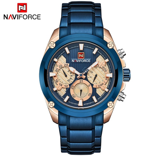 24596d4f780 NAVIFORCE Relogio Masculino Blue Mens Watches Top Brand Luxury Quartz Gold  Watch Men Full Steel Casual Military Sport Wristwatch