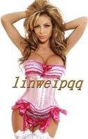 wholesale lingerie Ladies Satin Lace Up Basque Corset S-XXL pink B1460