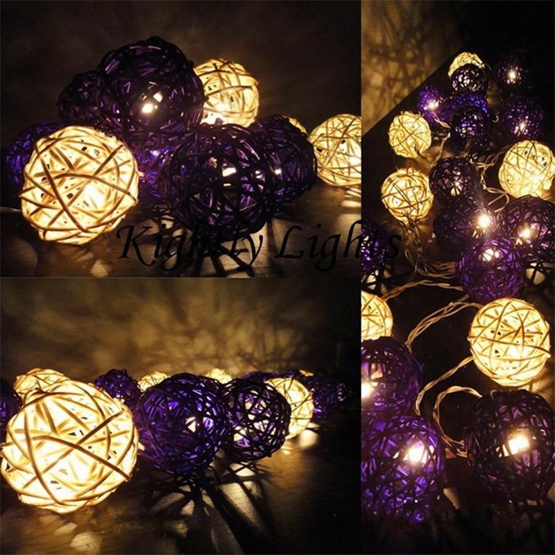 Novelty LED Rattan Ball String Lighting New Year Christmas Battery Garland lights Wedding Lamps Chandelier Luminarias Decoration