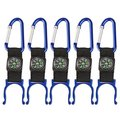 5 Black Carabiner Water Holder Bottle Clip Strap W/ Compass Camp Hiking Outdoor
