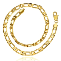 Popular Handmade 8mm Thick Gold Plating Figaro Chain Necklace
