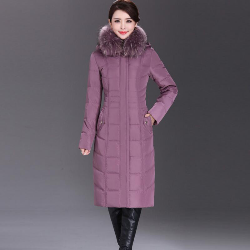 New 2018 Plus Size 5XL 6XL Fox Fur Collar Thicken White Duck   Down     Coats   Winter Women   Down   Parka   Coat   YP1248