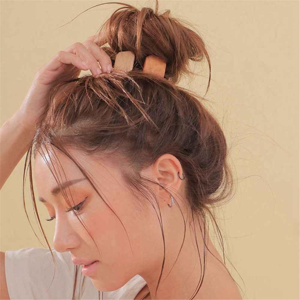 1 قطعة كوريا الأزياء المطاط مرونة الشعر العصابات الهندسة جولة البيضاوي خمر خشبية الشعر حبل المرأة إكسسوارات الشعر