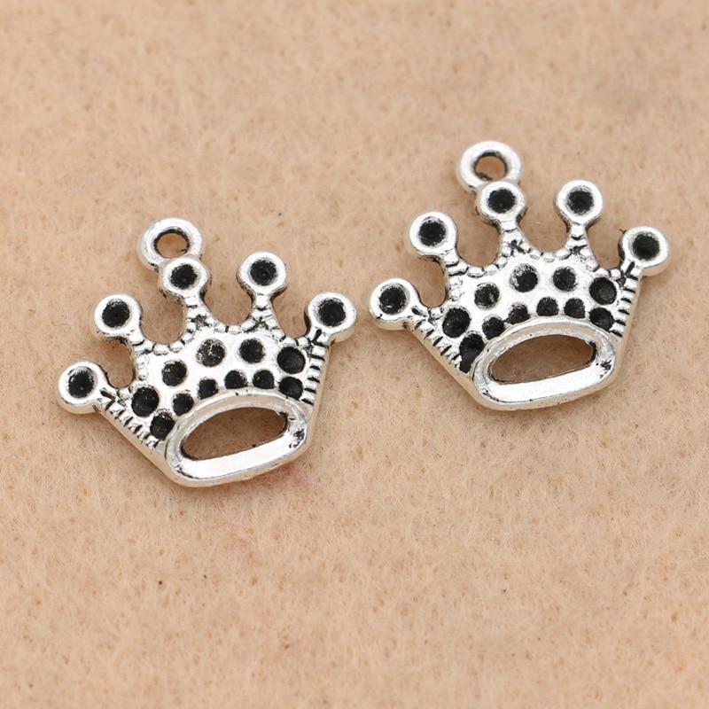 30pcs Tibetan silver HOLLOW Crown charms EF1387