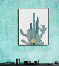 Watercolor Plant Green Cactus Canvas Painting Art Print Poster Picture Wall Modern Minimalist Bedroom Living Room Decoration