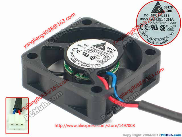 Free Shipping For DELTA  AFB0312HA, 7G82 DC 12V 0.15A 3-wire 3-pin connector 60mm 30X30X10mm Server Cooling Square fan free shipping for delta afc0612db 9j10r dc 12v 0 45a 60x60x15mm 60mm 3 wire 3 pin connector server square fan