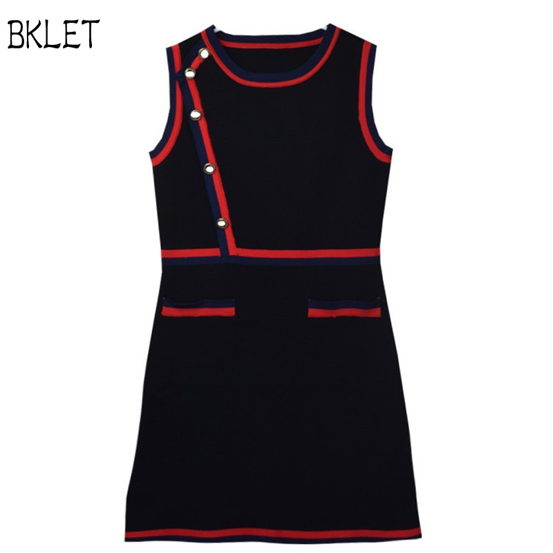 Woman Luxury Sweater Office Lady Dress 2018 Women's Black Button detailed Striped Webbing Stretch Knit Black And White Dress
