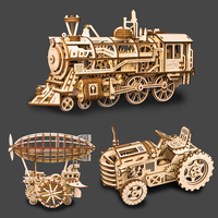3 Kinds Wooden Toys Creative DIY Laser Cutting 3D Vehicle Car Truck Model Wooden Puzzle Game Assembly Toy Gift for Children
