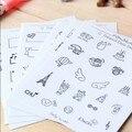 Creativo PVC pegatinas Foto de mini decoración de la Etiqueta Engomada blanco y Negro patrones niño DIY juguete 8 hojas/sistema