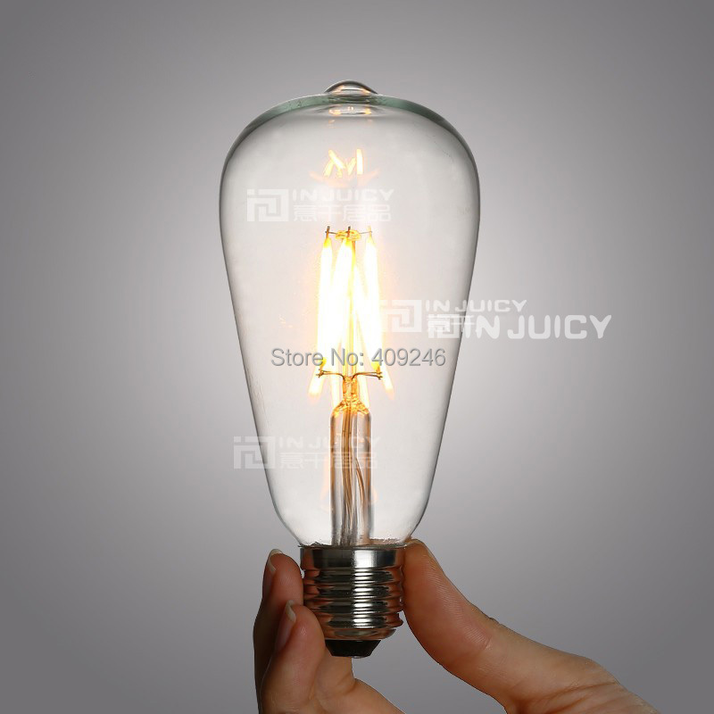 Light Bulb Industry: 5PCS LED 360 2W 4W E27 Filament light bulb old fasioned ST64 Edison  Industrial Lamp,Lighting