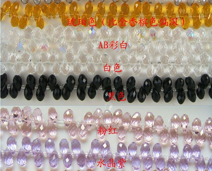 100pcs 6*12mm Random mixed more 15colors Crystal Glass Teardrop Beads Briolette Crystal Jewelry Loose Beads DIY free shipping