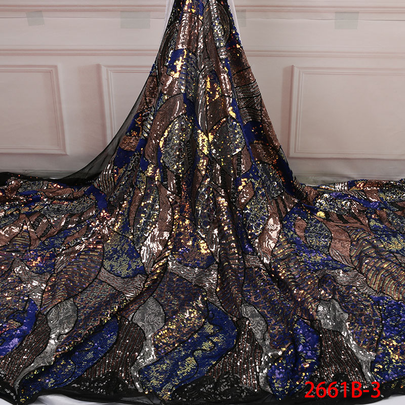 Novedad tela de encaje de tul africano con lentejuelas 5 yardas tela de encaje de lentejuelas para mujer vestido de noche de fiesta de boda APW2661B 3-in encaje from Hogar y Mascotas    1