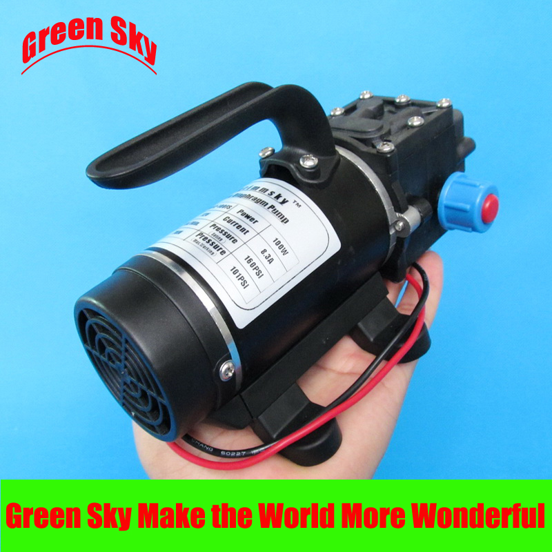 New Arrival return valve type with handle and cooling fan 8L/Min 24V DC 100W diaphragm water pump