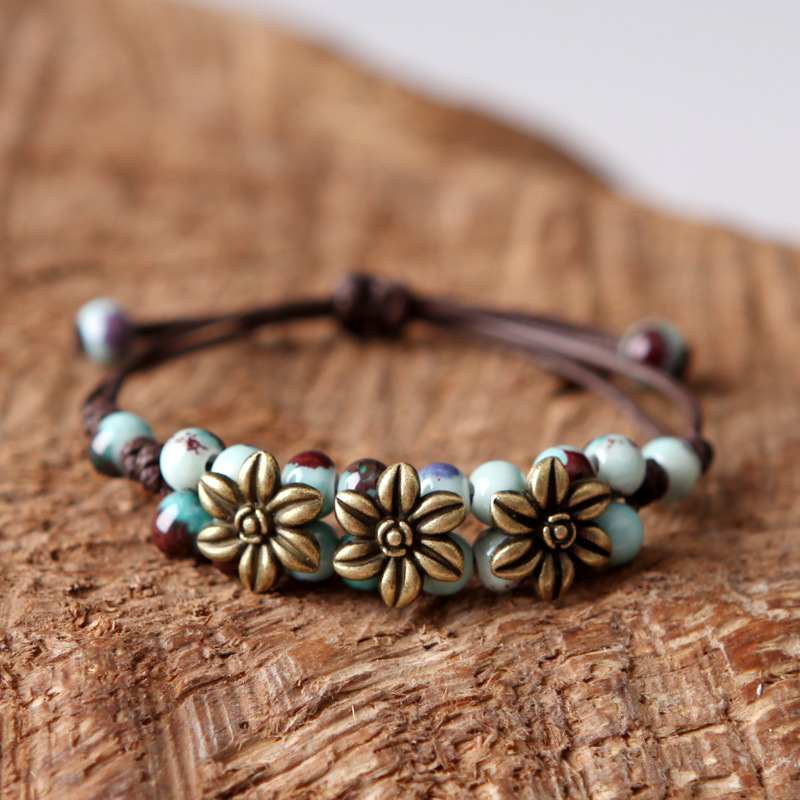 Double Ceramic Beaded Bracelet For Women Vintage Beads Charm Bracelets Men Jewelry Retro Alloy Flower Bangle Adjustable Chains