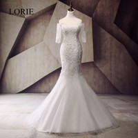 LORIE Plus Size Wedding Dresses Mermaid Style Robe De Mariage 2017 Vintage Lace Pearls Beaded China Bridal Gowns Custom Made